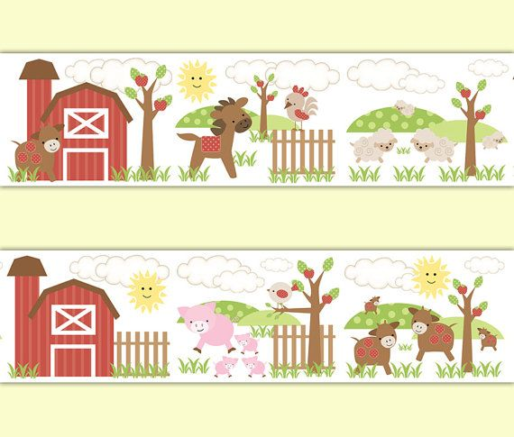 FARM NURSERY BORDER Decal Wall Art Barnyard Animal Stickers Decor Baby Boy Shower Gift Decorations Horse Pony Pig Sheep Cow Chicken Rooster #decampstudios