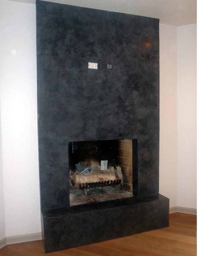 Hand Troweled Black Venetian Plaster Fireplace With Soapstone Client Wanted To See Texture With