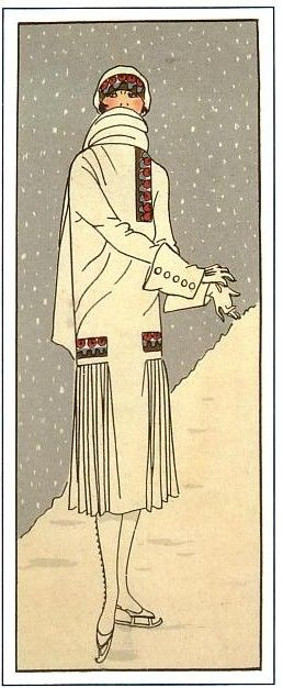 French fashion magazine, Art, Gout, Beaute sometime in the 1920s, probably 1924 or 25, when white was having a major fashion moment.  The little touches of red and blue help keep her from blending in with the snow.