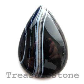 #Cabochon, black sardonyx, 26x38mm teardrop. #TreasureStone Beads Edmonton.