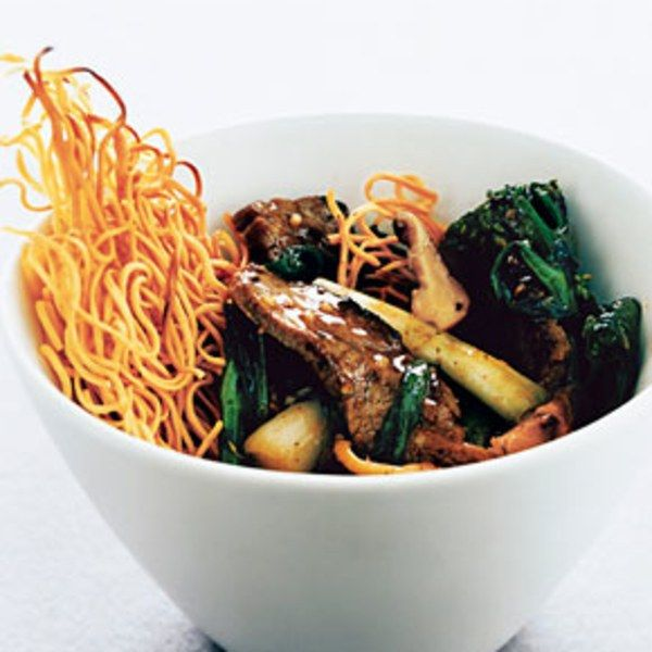 This authentic Cantonese version of chow mein features fresh egg noodles, which are fried into a cake that softens slightly when topped with a meat and vegetable sauce. Be careful not to mistake wonton noodles for Chinese egg noodles — although they look similar, wonton noodles don't have the same rich texture.