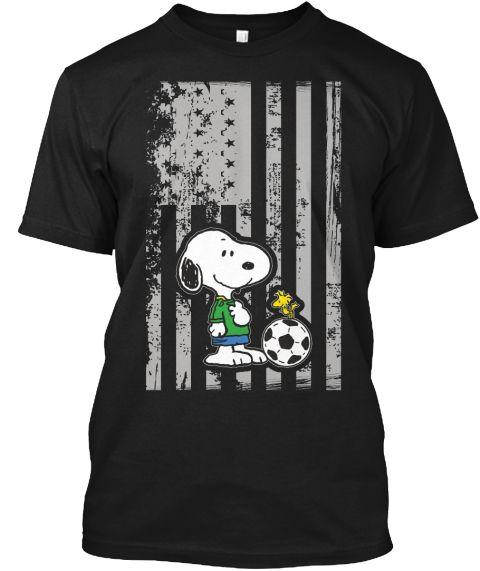 American Soccer T Shirt , Snoopy Shirt Black T-Shirt Front