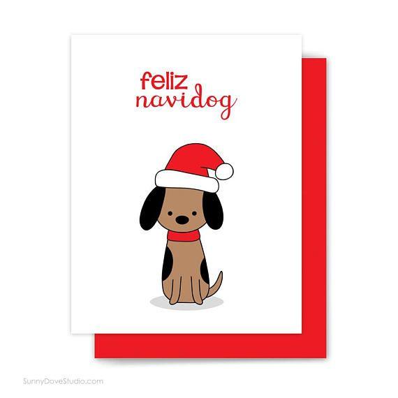 Dog Christmas Puns.Funny Christmas Card For Friend Feliz Navidad Pun Dog