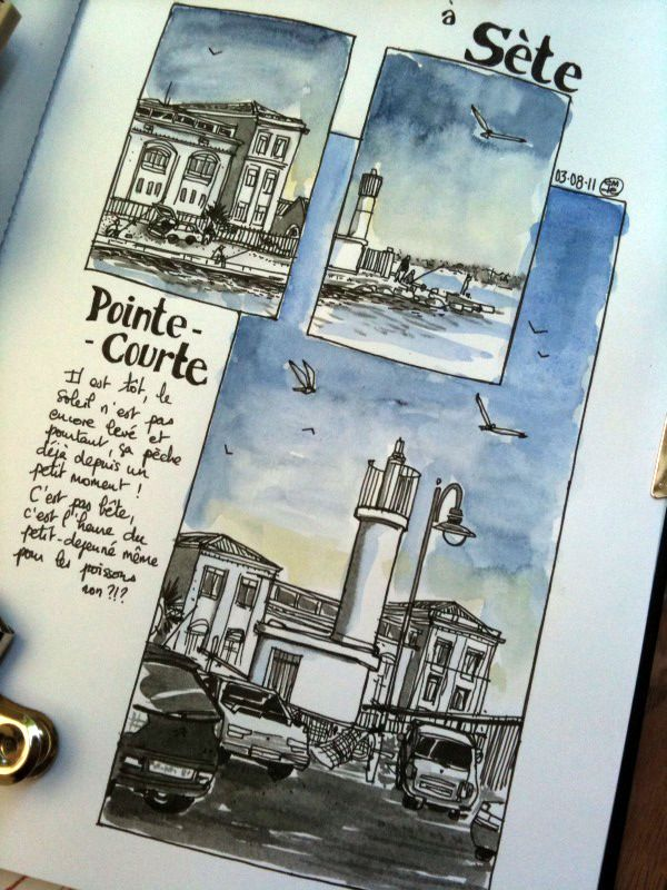 Voyagitudes à Sete. Travel, journal, sketchbook, notebook, dairy, words and images, drawing.