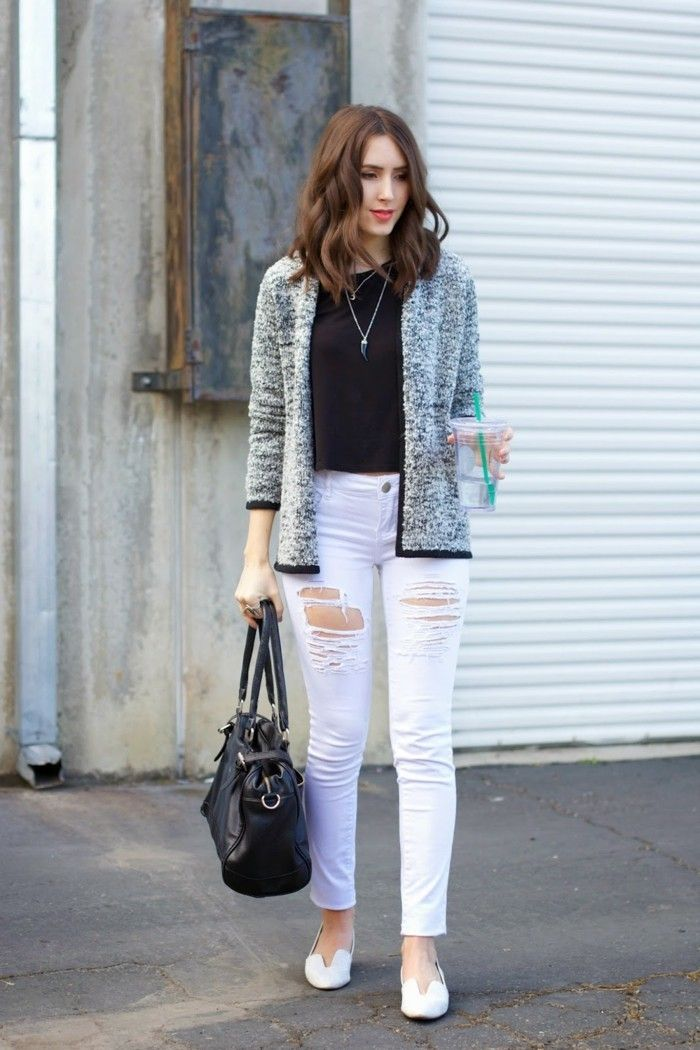 17 best ideas about jean blanc femme on pinterest jeans