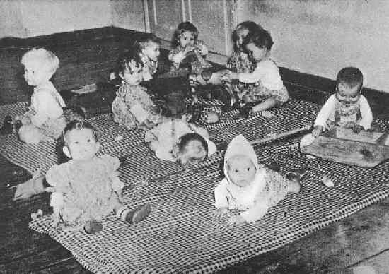 """Children of the Lebensborn program, a eugenics project that took """"genetically appropriate"""" children from occupied countries to be raised together as Nazi leaders."""