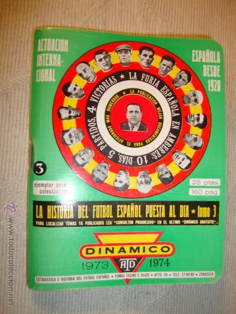 LIBRO LIBRETO CALENDARIO FUTBOL AÑO 1973 1974 DINAMICO ANUARIO 160 PAG.