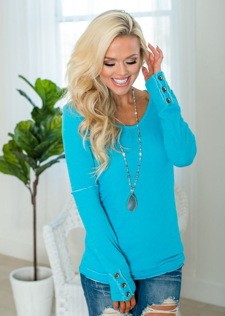 Long Sleeve Top Turquoise, Top, Shopmvb, Women's Boutique, Online Shopping, Fashion, Style,  Modern Vintage Boutique