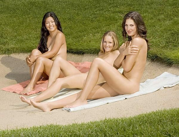 nude females playing golf