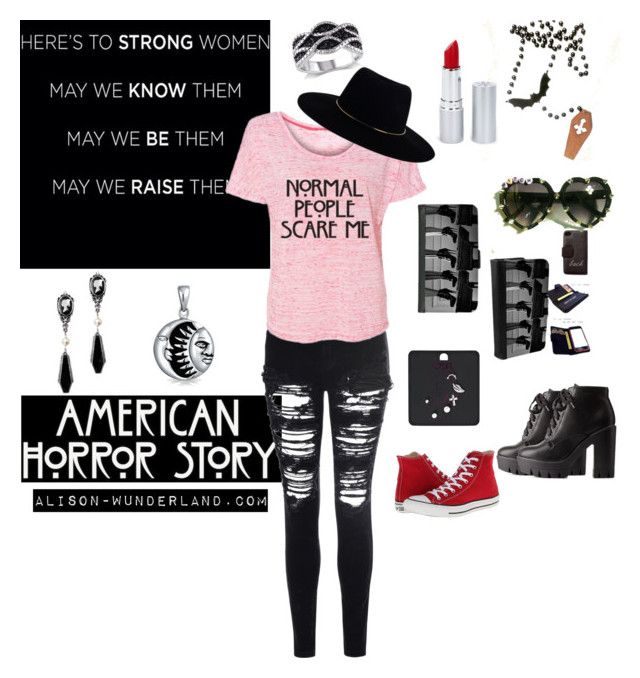 """""""normal people scare me"""" by alison-wunderland on Polyvore featuring Charlotte Russe, Glamorous, Zimmermann, Coven, Bling Jewelry, Converse, HoneyBee Gardens, Alison and americanhorrorstory"""