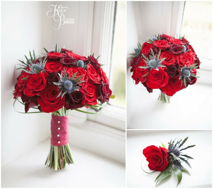 Red Rose And Thistle Bouquet And Boutonniere Red Rose Wedding Thistle Bouquet Wedding Thistle Wedding