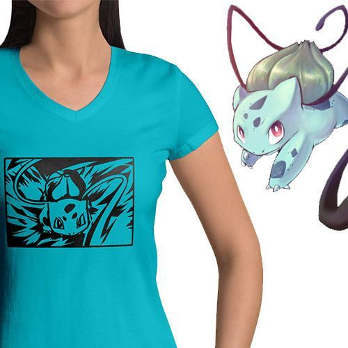Pokemon Bulbasaur Vine Whip Attack Anime Tee Top Womens Juniors V-Neck T-Shirt