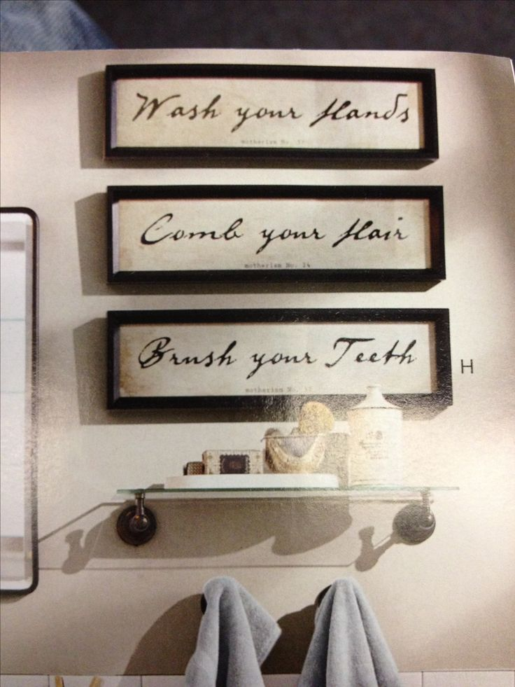 Bathroom decor words in frames