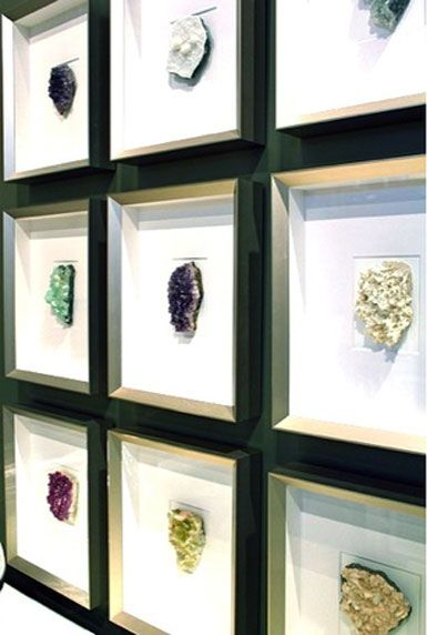 Showcase my rock collection in shadow box frames. //Artwork for glam bath.