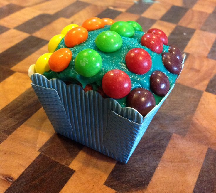 Skittles and Bubblegum cupcake