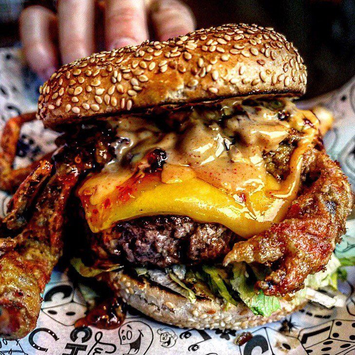 Lucky Chip London Burger with Deeply Fried King Crab, Smoky Bacon and Lots of Cheddar Cheese