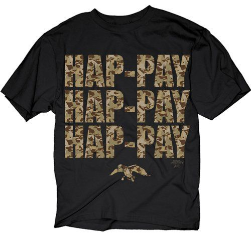 Duck Dynasty Phil Robertson Hap-pay Hap-pay Hap-pay Adult T-Shirt with Letters in Camo Print