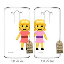 Luxury Quality PC couple phone case For case LG G3 Best Friends Emoji Pair1(China (Mainland))