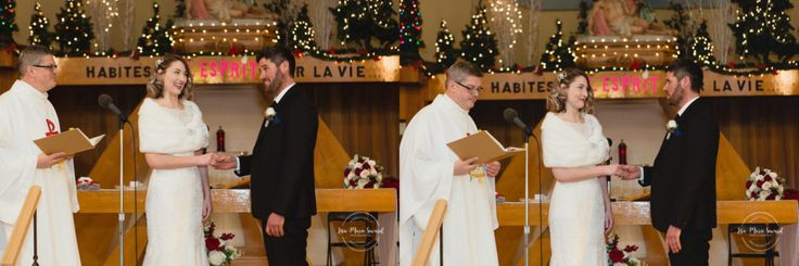 Winter wedding in Catholic Church. Christmas holiday wedding. Traditional ceremony vows ring exchange first kiss. Montreal winter wedding, groom reaction when seeing bride. Mariage à l'Auberge Godefroy en hiver église de Saint-Samuel Victoriaville| Lisa-Marie Savard Photographie | Montréal, Québec | www.lisamariesavard.com
