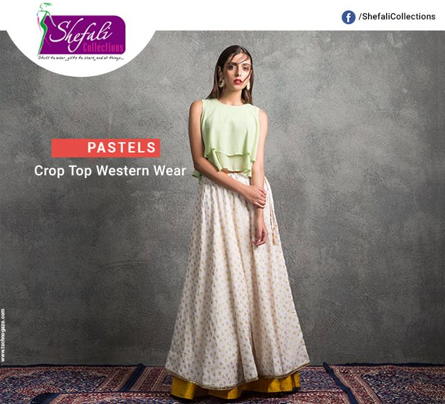 Pastels: Crop Top Western Wear !! Call @ 9993339994 #ShefaliCollections #Clothes #Fashion #Brand #Style #Dresses #WesternWear #Kurtas #Tops #Jeans #Suits