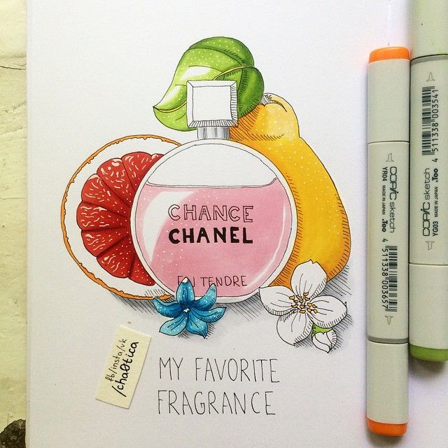 My favorite fragrance. Mix of quince, grapefruit, jasmine, hyacinth.  Мои любимые духи. Сочетание грейпфрута, айвы, гиацинта и жасмина.  #illustration #art #instaart #art_we_inspire #art_markers #copic #copics #copicmarkers #leuchtturm1917 #fruits #flowers #sketch #sketchbook #fraigrance #иллюстрация #маркеры #копики #скетч #скетчбук #духи #chanel #chanelchance #sketch_daily #vsco #vscodraw #шанель  #justsketch365 #drawing #draweveryday #markers