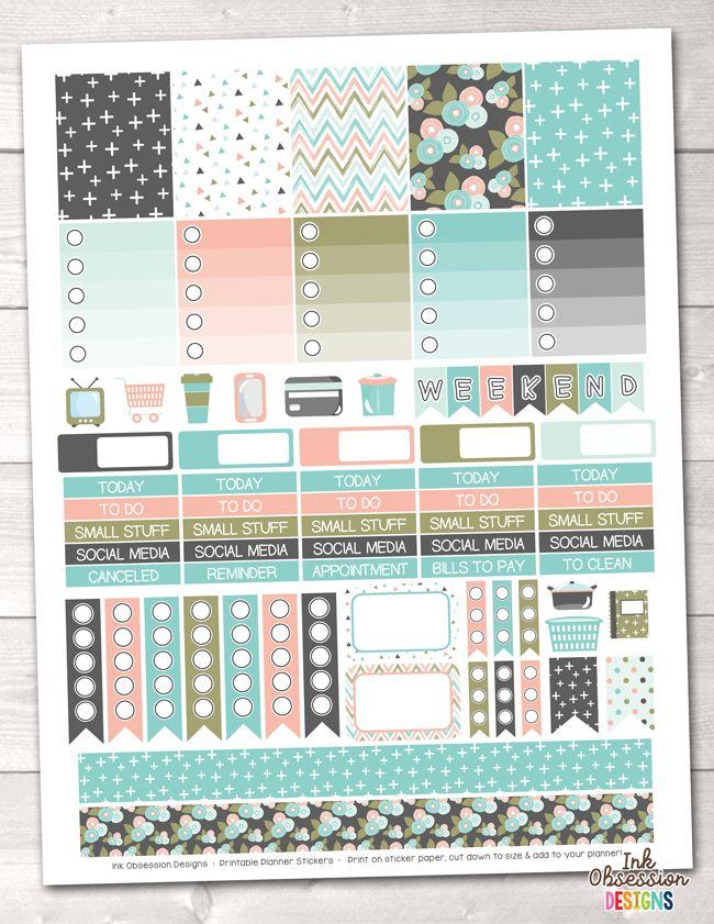 Bloom Printable Planner Stickers Weekly Kit – Erin Bradley/Ink Obsession Designs