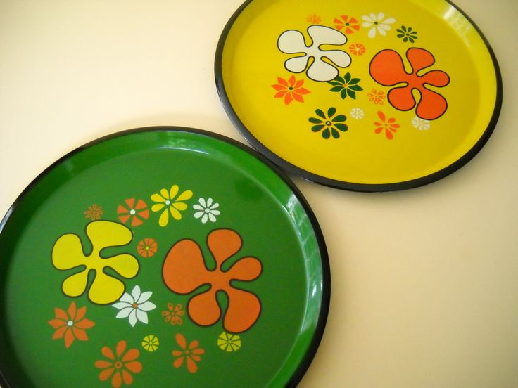 Pair of Vintage Mod Flower Power Plastic Serving Trays Japan by Modernaire on Etsy