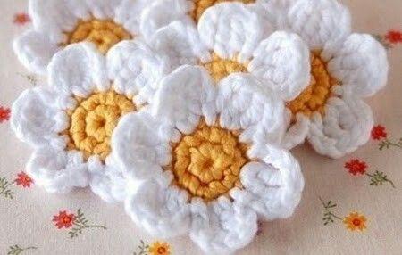 Margaritas tejidas   Flores y más flores   Pinterest