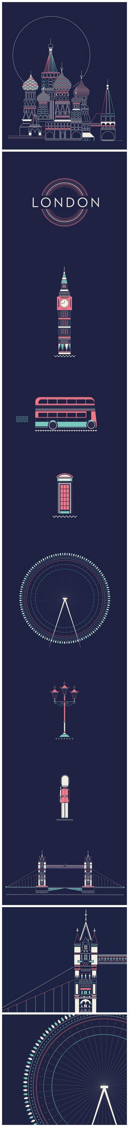 阿根廷設計師Verónica做了一組城市海報,以各色的細線和小色塊做了莫斯科,巴黎,倫敦三個城市的海報。