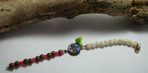Bracelet libelulle  bois coco et os