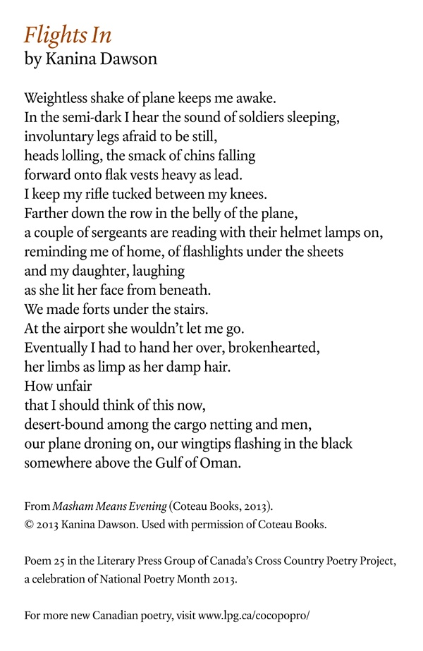 Poetry Month Day 20: Flights In by Kanina Dawson, from Masham Means Evening (Coteau Books)