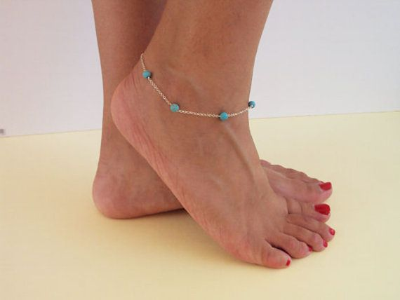 Turquoise Anklet Sterling Silver Anklet by VasiaAccessories