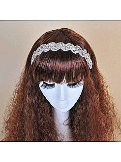 Ivory Hairband with Rhinestone and Beading - USD $9.99