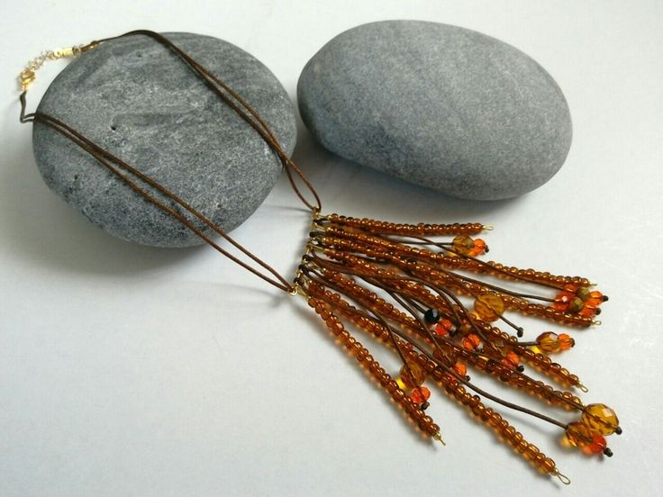 Necklace with crystal and seed beads in brown colours. https://el-gr.facebook.com/ElitasBijoux