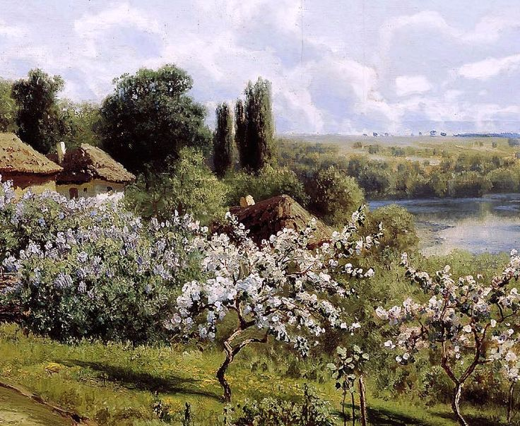 """Николай СЕРГЕЕВ - """"Яблони в цвету"""" Украина, 1895."""