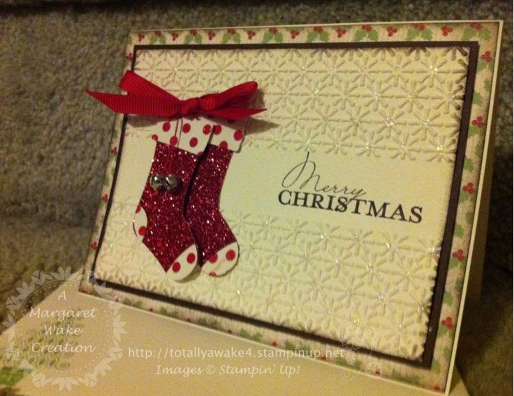 stampin up - I like how they left a flat space in the embossing... will have to try that!