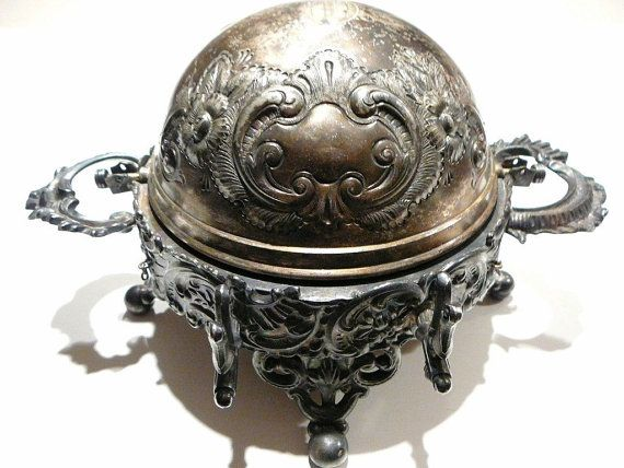 victorian butter dish | Vintage Victorian Meriden B Silver Covered Butter Dish