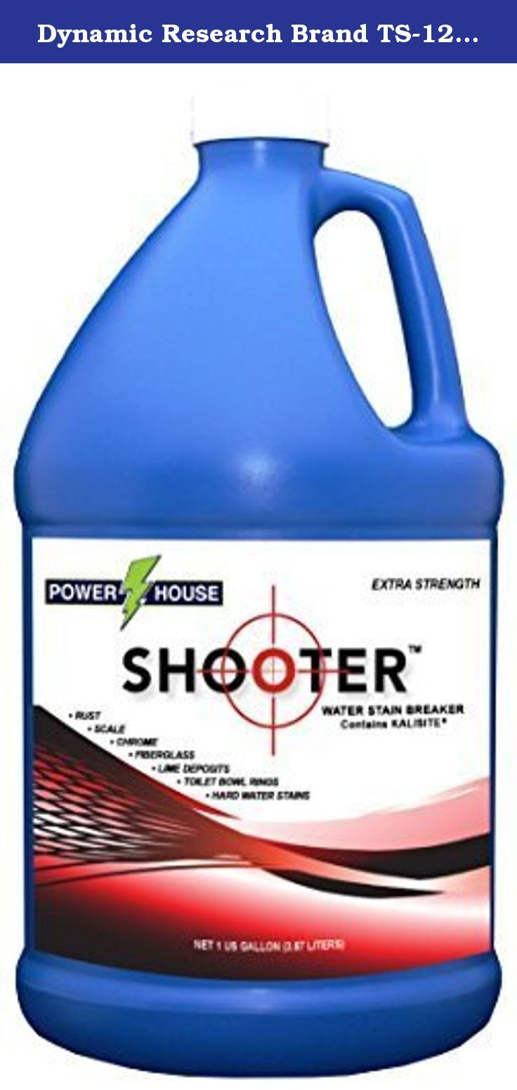 Dynamic Research Brand TS-128 Powerhouse Shooter Water Stain Breaker 1 Gallon Bottle (1, Each). Powerhouse SHOOTER is the problem solver for water systems containing unusually high amounts of difficult to remove metals, rust, and minerals. Care must always be taken when using this extra strength formula. Please read all instructions and warnings before use. Customer is responsible for determining suitability for the purpose they are using the product for.