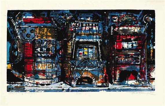 Artwork by Wayne Thiebaud, Gambling Machines, Made of screenprint in colors on laid paper