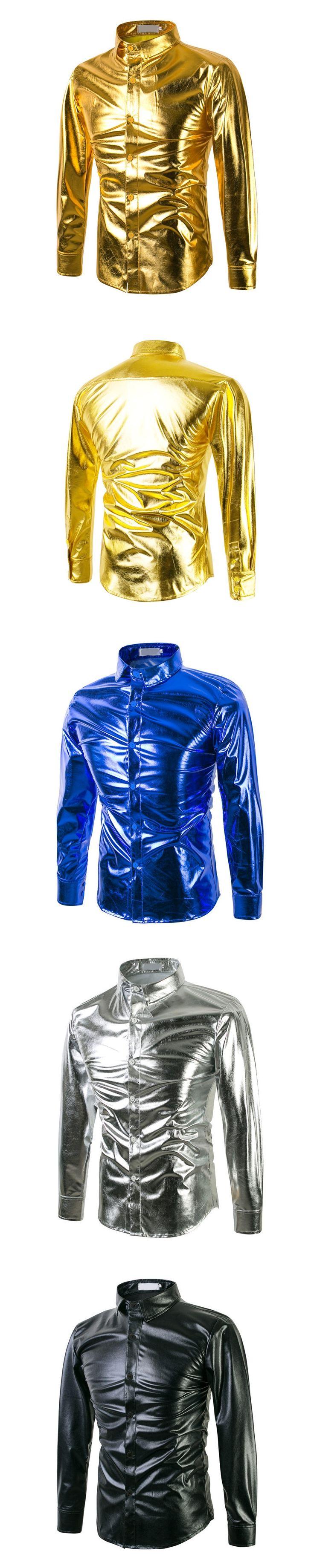 2017 brand new mens dress shirts with cufflinks Long sleeve fashion casual men shirt social costume golden clothing