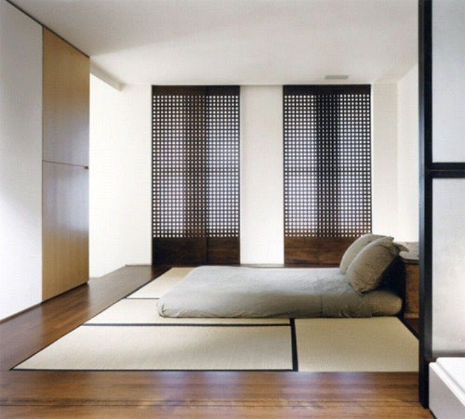 Modern Japanese Home Interior: Tatami Mats Japanese Bedroom Idea. טאטמי בגובה הריצפה בחדר