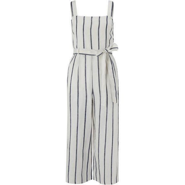 Monsoon Clara Linen Stripe Jumpsuit (£85) ❤ liked on Polyvore featuring jumpsuits, jump suit, striped jumpsuit, waist belt and linen jumpsuit