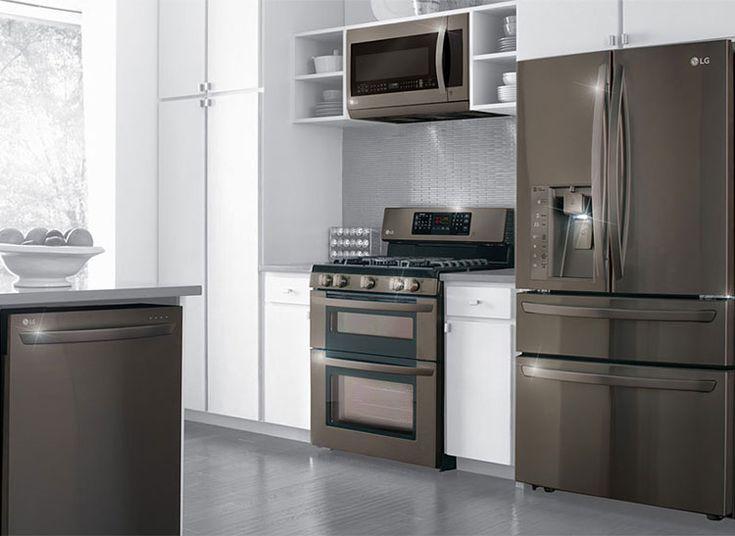 LG's black stainless kitchen appliances. So nice! #LGlimitlessdesign #contest