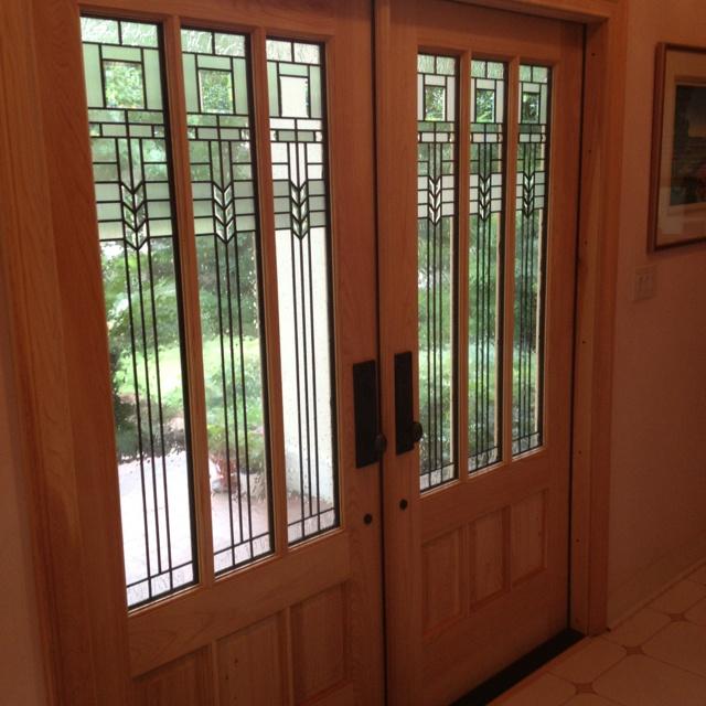 Custom Cypress Doors with Oak Park glass installed @Fine residence in Gainesville Fl & 77 best Favorite Doors Installed images on Pinterest | Double doors ...