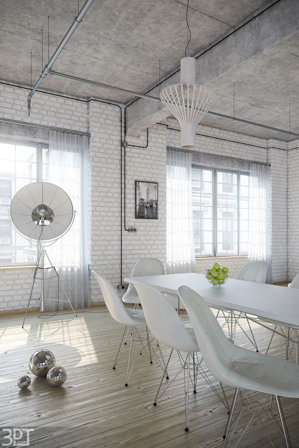 Great All White Industrial Loft Flat By Tamas Petrovics, Via Behance