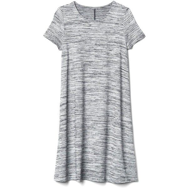 Gap Women Softspun Knit Stripe T Shirt Dress (2,325 INR) ❤ liked on Polyvore featuring dresses, short jersey dress, jersey t shirt dress, striped tee dress, dolman sleeve dress and tee dress