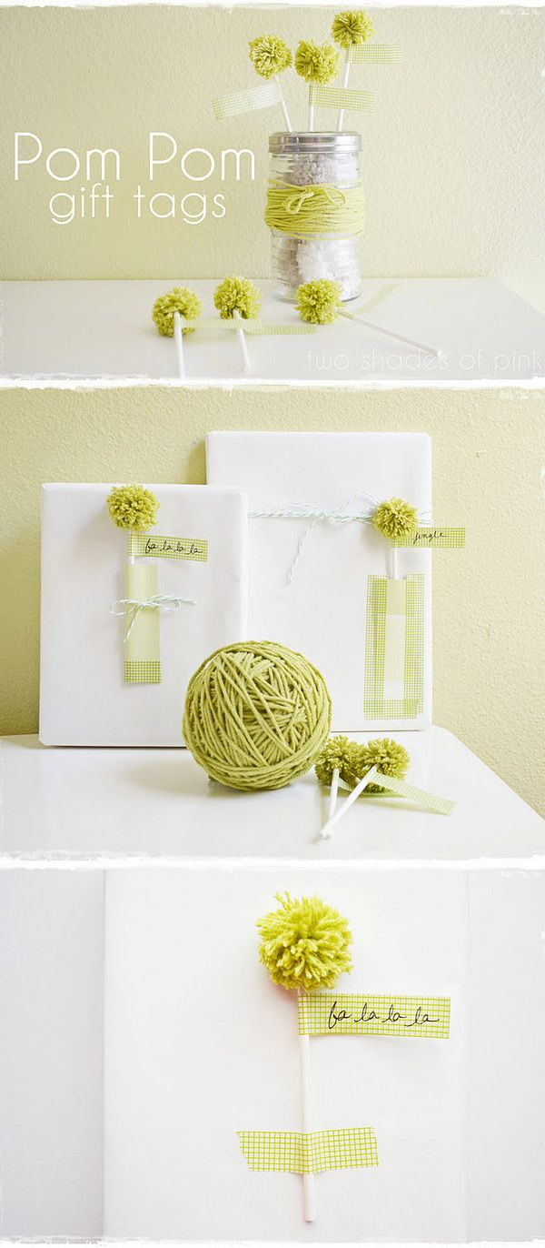 Washi Tape + Pom Pom Gift Tag DIY Inspiration - See this pin for a Pom Pom Tutorial: http://pinterest.com/pin/263601384409221109/
