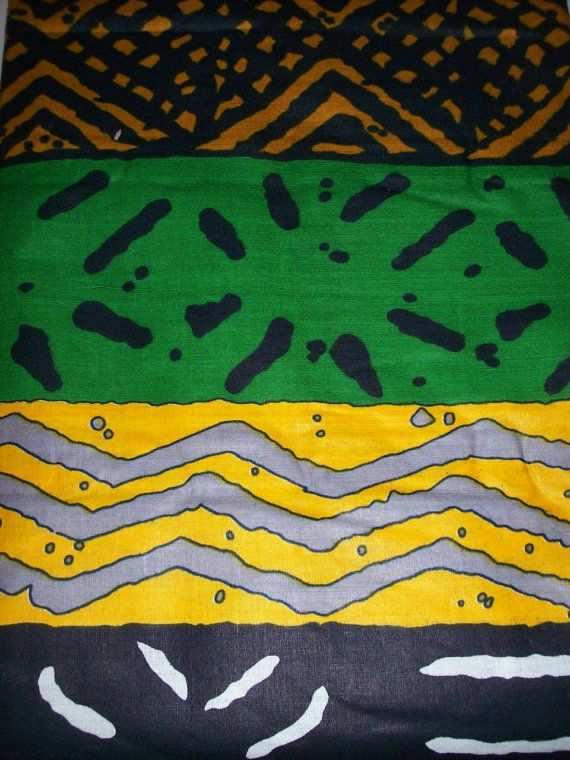 Per Yard African Fabric Mudcloth Print Multi Color Tribal