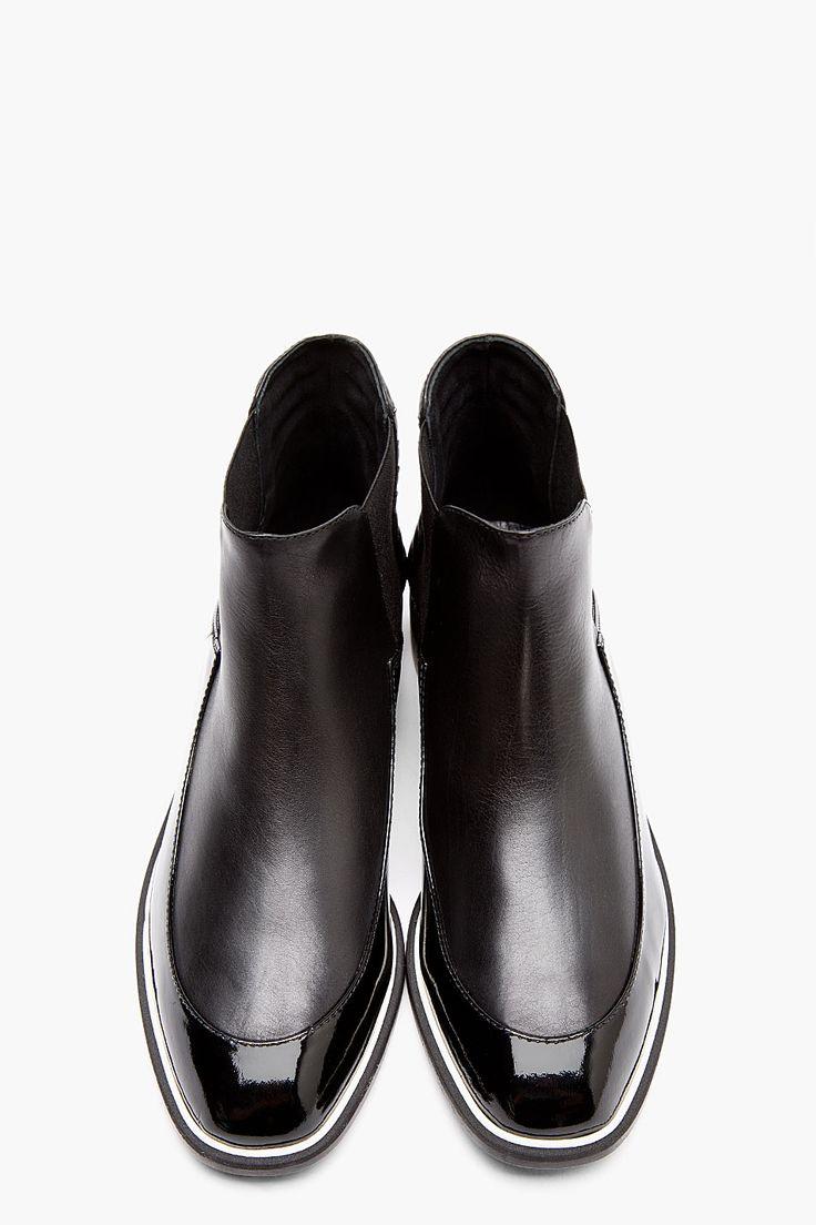 NICHOLAS KIRKWOOD Black Matte & Patent Leather Chelsea Boots @CO DE + / F_ORM