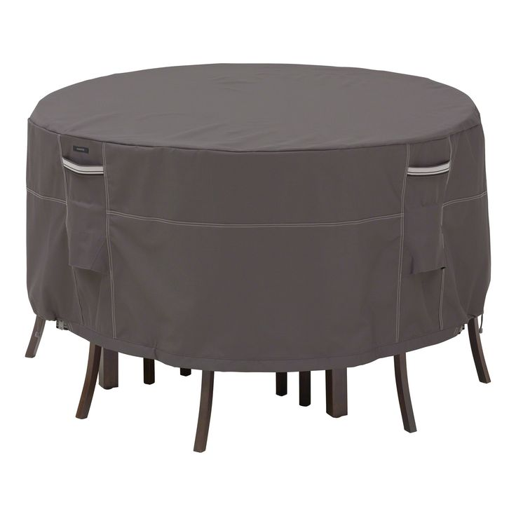 classic accessories ravenna small round patio table and 4 standard chairs cover dark taupe